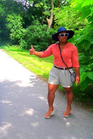 hat - JCrew shirt - asos purse - sunglasses - marshall fields belt - American Ea