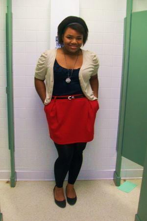 black Simply Vera by Vera Wang leggings - red asos skirt - blue J Crew shirt - b