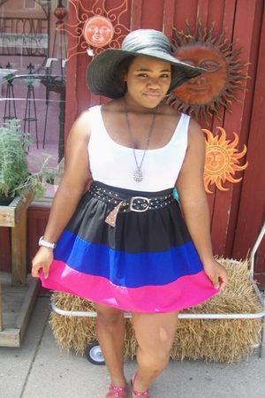 white Forever 21 dress - black Charlotte Russe hat - black Forever 21 necklace -
