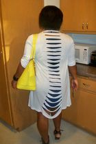 blue American Eagle dress - white asos cardigan - yellow arcadia purse