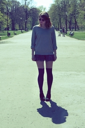 gray H&M sweater - black Zara shoes - purple Stradivarius dress