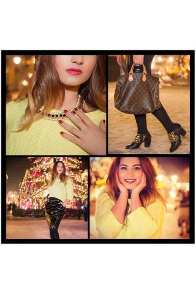 Orsay sweater - Zara boots - Local store coat - Louis Vuitton bag