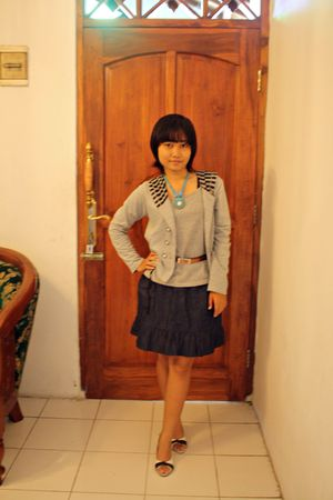 gray unbranded jacket - gray unbranded top - blue BSG jeans skirt - brown thrift
