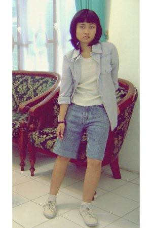 white girlvy shoes - light blue Number 61 shirt - blue Levis shorts - white sock