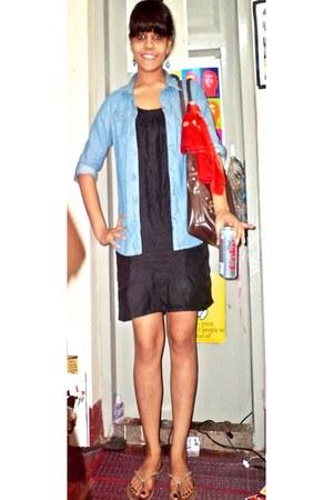 vintage scarf - vintage dress - denim jacket H&M jacket - Bentore bag
