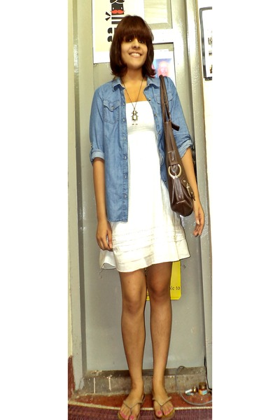 white dress Only dress - denim jacket Eddie Bauer jacket