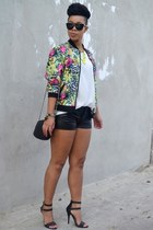 leopard print jacket - faux leather shorts - matte heels