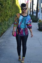 Coogi sweater - leather DAME pants - heels