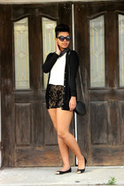 lace shorts - cat eye sunglasses - metallic flats - studded top