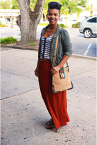 skirt - tribal suede bag - top - cargo cardigan