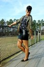 Studded-shoes-army-jacket-vintage-sweater-faux-fur-loafers