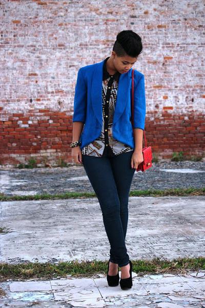 blazer blazer - print blouse