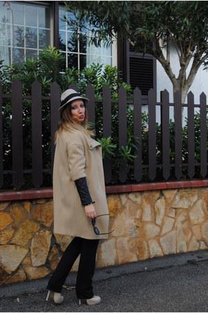 camel Zara coat - camel denny rose hat - beige YSL heels