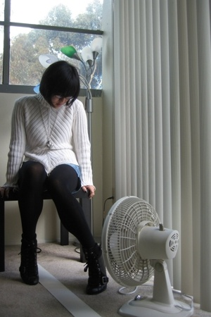 dunno sweater - G by Guess shorts - Urban Outfitters tights - Nine West boots -
