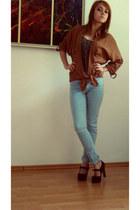 Bershka jeans - pull&bear shirt - Bershka blouse - heels