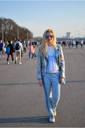 light blue Zara top