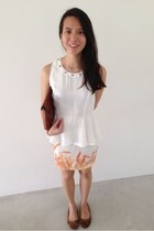 ivory street find dress - burnt orange clutch Bonia bag