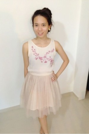 light pink thrift dress - light pink tutu skirt thrifted skirt