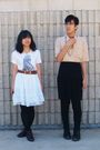 Black-skirt-black-pants-white-skirt-beige-shirt-white-shirt-brown-boot