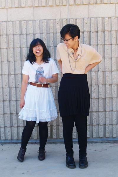 black skirt - black pants - white skirt - beige shirt - white shirt - brown boot