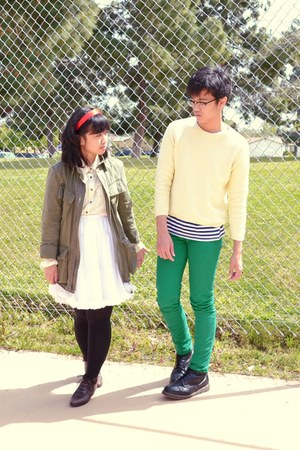 green Levis jeans - army green Urban Outfitters jacket - light yellow sweater -