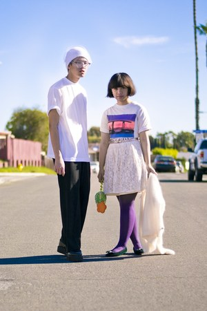 bubble gum shirt - purple tights - chartreuse bag - white t-shirt - black pants