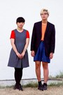 Heather-gray-dress-carrot-orange-dress-light-orange-h-m-shirt-navy-shorts