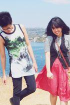 black Forever 21 shirt - red skirt - black Levis jeans - black vest - white shir