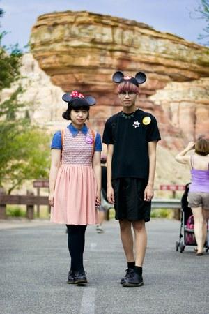 light pink American Apparel dress - blue denim shirt - black shorts