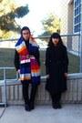 Magenta-h-m-scarf-black-levis-jeans-black-thrift-skirt-navy-thrift-shirt-