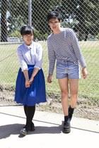 light blue shorts - blue skirt