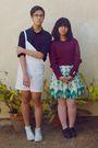 White-arizona-jeans-green-forever-21-skirt-red-sweater-red-forever-21-brac