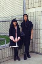 black scarf - black Forever 21 coat - black H&M jacket - pink thrift shirt - egg