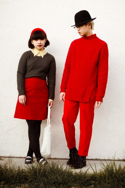 red H&M sweater - dark gray Gap sweater - black H&M hat