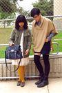 Gold-hue-tights-black-forever-21-socks-blue-american-apparel-shorts-beige-