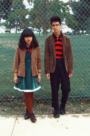 black - red Old Navy shirt - brown HUE tights - brown vintage boots - black Dr M