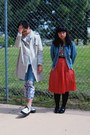 White-creeper-tuk-shoes-off-white-trench-h-m-coat-blue-denim-jacket-purple