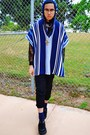 Blue-poncho-forever-21-cape-blue-cherokee-jumper-black-baseball-pants
