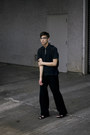 Blue-denim-levis-skirt-black-shirt-light-blue-t-shirt-black-pants