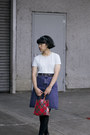 Blue-denim-levis-skirt-black-shirt-light-blue-t-shirt-black-pants
