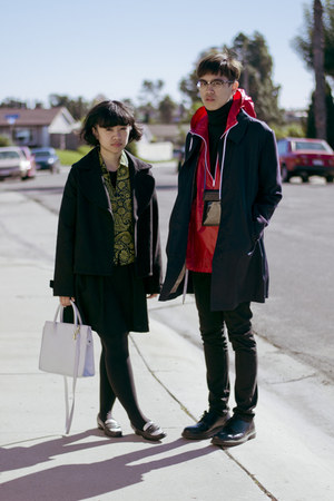 red windbreaker character hero jacket - black Zara dress - black pea coat