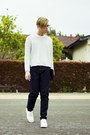 Silver-glitter-h-m-sweater-white-shoes-navy-american-apparel-jeans