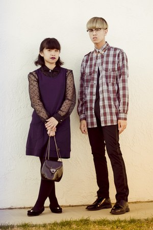 brick red plaid shirt - black polka dot sheer shirt - navy H&amp;M dress