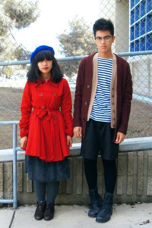red coat - gray dress - red sweater - gray tights - black shorts - black socks