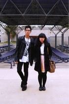black Target shoes - black coat - black Levis jeans - black H&M jacket - white U