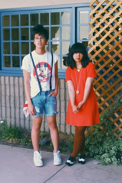 orange dress - white shirt - blue shorts - brown HUE tights - black Forever 21 s