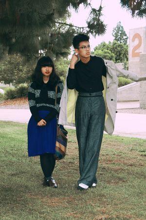 black sweater - blue dress - beige H&M coat - black H&M shirt - gray H&M pants