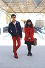 Red-little-girl-coat-red-levis-jeans-navy-jacket-white-keith-haring-urban