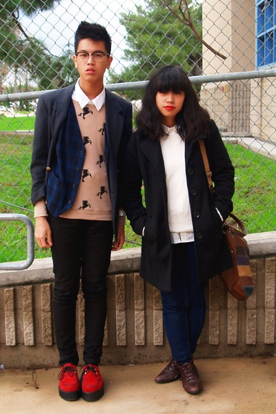 red creepers Demonia shoes - black coat - navy Forever 21 jeans - cream sweater