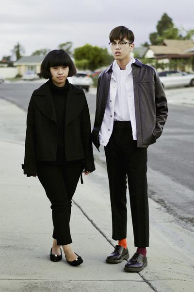 black leather jacket - white denim jacket - black turtleneck sweater